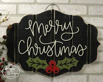 merry christmas sign holly leaves winter door sign christmas door hanger rustic farmhouse wall decor wooden wood shiplap sign fixer - Wooden Christmas Signs