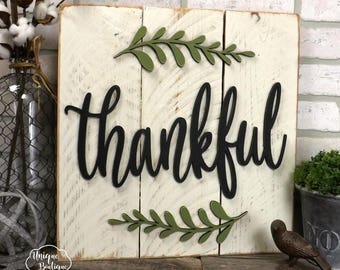 Thankful Sign | Farmhouse wall Decor | fixer upper style | Wooden shiplap sign | rustic wall decor rustic wood home decor 17x17 gallery wall
