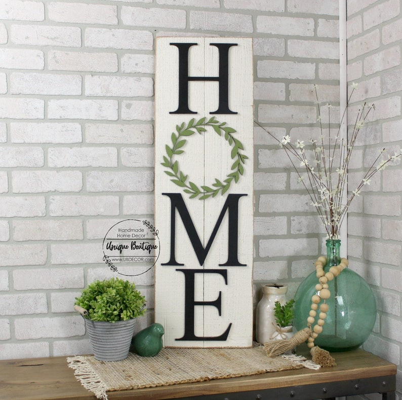 68f488b35e50c Vertical HOME Sign, Boxwood wreath sign, shiplap sign, Home sign with  wreath, Rustic Wall Decor, 35x11, gallery wall, hanging wood sign