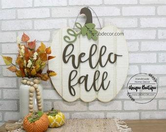White Pumpkin Door Hanger, Hello Fall Sign, Wood shiplap sign, Neutral Rustic Decor, Farmhouse wall Decor, Modern wreath for Fall