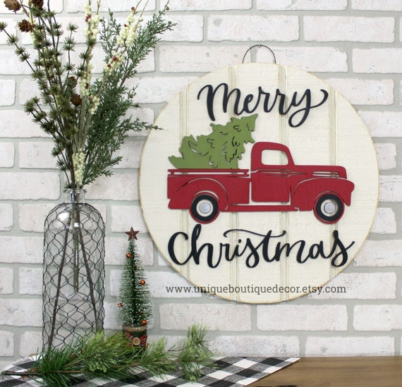 Vintage Red Truck Christmas Decor.Vintage Red Truck Christmas Door Sign Farmhouse Christmas Decor Merry Christmas Door Hanger Rustic Christmas Wreath 19 5