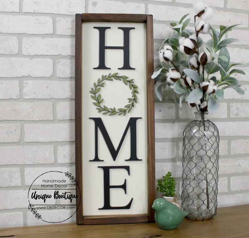 de32e604a7d36 Vertical HOME Sign, Boxwood wreath sign, Home sign with wreath, Wood framed  sign, rustic home decor, 25X9, gallery wall, hanging sign