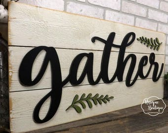 Gather Sign | Farmhouse wall Decor | fixer upper style | Wooden shiplap sign | gather wall decor | rustic wood home decor 35x16 gallery wall