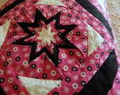 Vintage Amish Folded Star Quilt Quillow Pink Black Quilt Hand Tied Handmade
