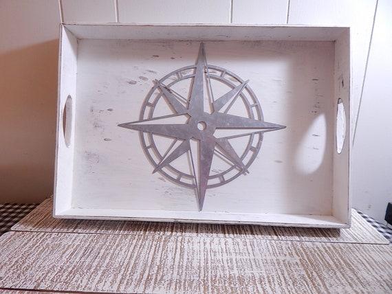 Remarkable Farmhouse Serving Ottoman Tray Wood With Metal Navigational Compass Inzonedesignstudio Interior Chair Design Inzonedesignstudiocom