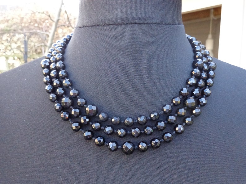 Black Faceted Onyx Bead Rope Necklace 154 cms with lovely handmade Gift Wrap