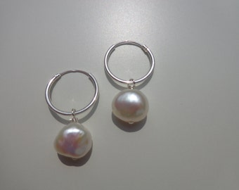 AAA 10mm White Pearl Hoop Earrings with sterling silver 16mm hoops and exquisite free black velvet gift packaging
