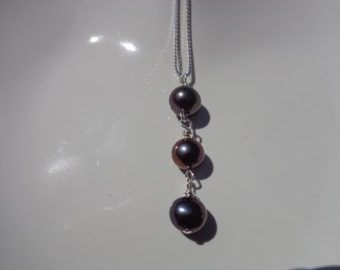 AAA Triple Black 7mm pendant pearl necklace with sterling silver fine box chain and free black velvet  gift packaging
