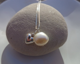 AAA White PEARL and Silver HEART Charm Pendant Necklace with Sterling Silver fine box chain and exquisite gift packaging