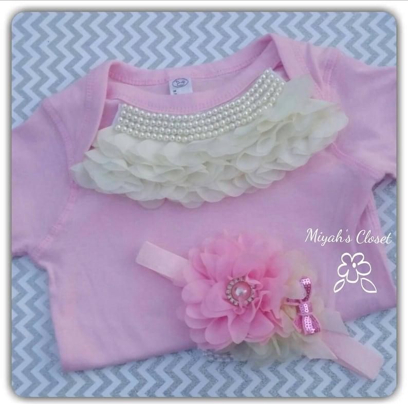 Princess Pink /& Pearls Body Suit Set 12 Month Set Princess