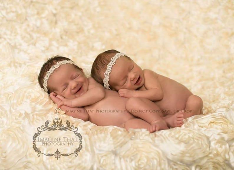 Ava Pearl Headband Newborn Pearl Headband Pearl Halo Headband Baby Girl Pearl Headband Twin Sets Girl Newborn Twin Set Newborn Twin Props