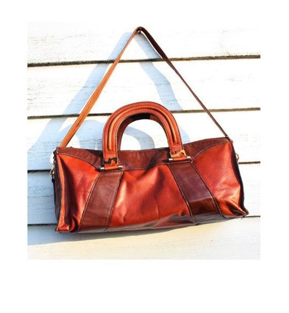 Brown Cognac Leather Vintage Woman Bag