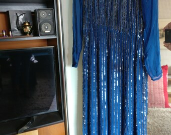 reduced BLOOMINGDALES flapper inky blue sequin dress by . generous size