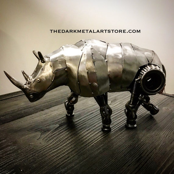 Metal Rhinoceros Sculpture