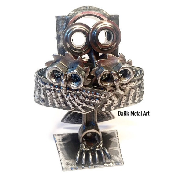 Metal Art Parent and Baby Hoot