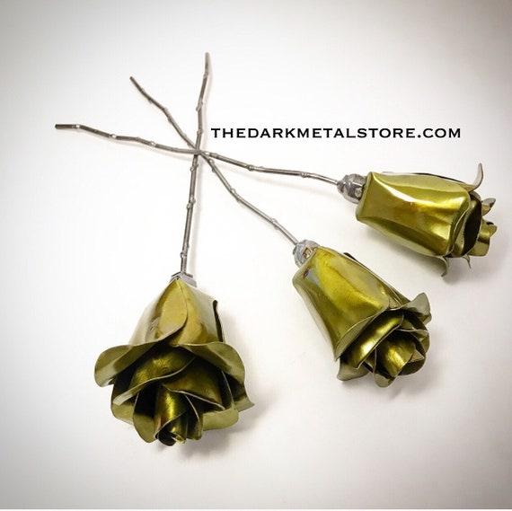 Set of 3 Yellow Eternity Roses