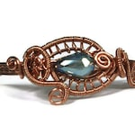 """7"""" Woven Wire Copper Bracelet  Blue Crystal and Copper Cuff"""