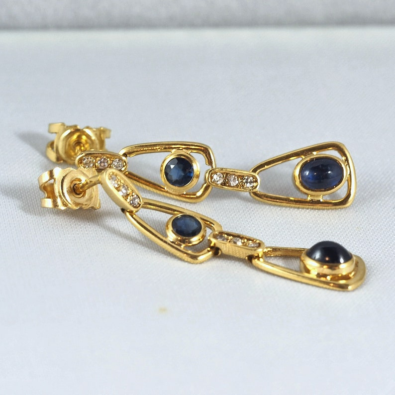 18K solid gold dangle earrings with natural sapphires Fine image 0