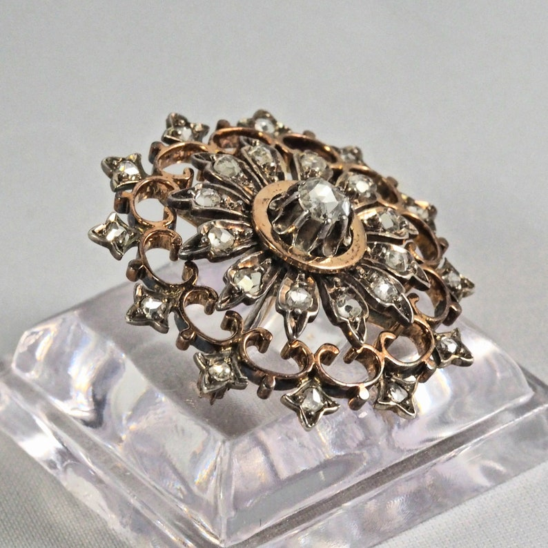 Rare French antique 18K solid rose gold and silver brooch image 0