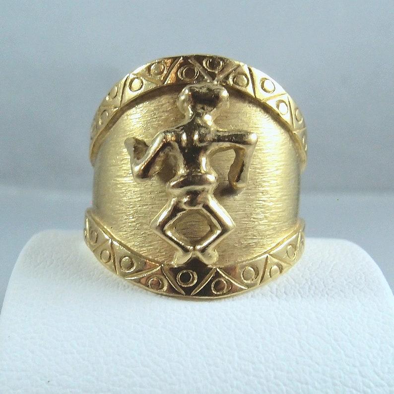 Interesting Aztec like 3-Dimensional Design Ring in 14K solid image 0