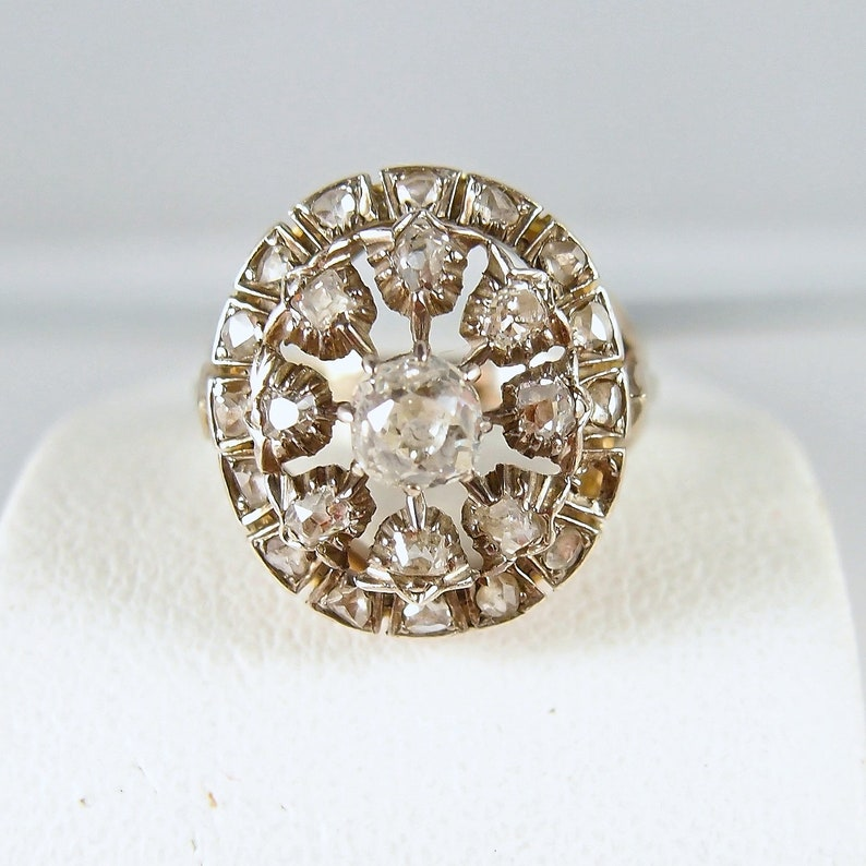 Georgian era antique ring in 18K and 800 silver Stamped image 0