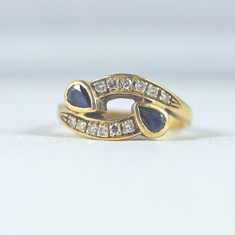 Double gem 18K solid gold crossover ring Natural sapphires and image 0