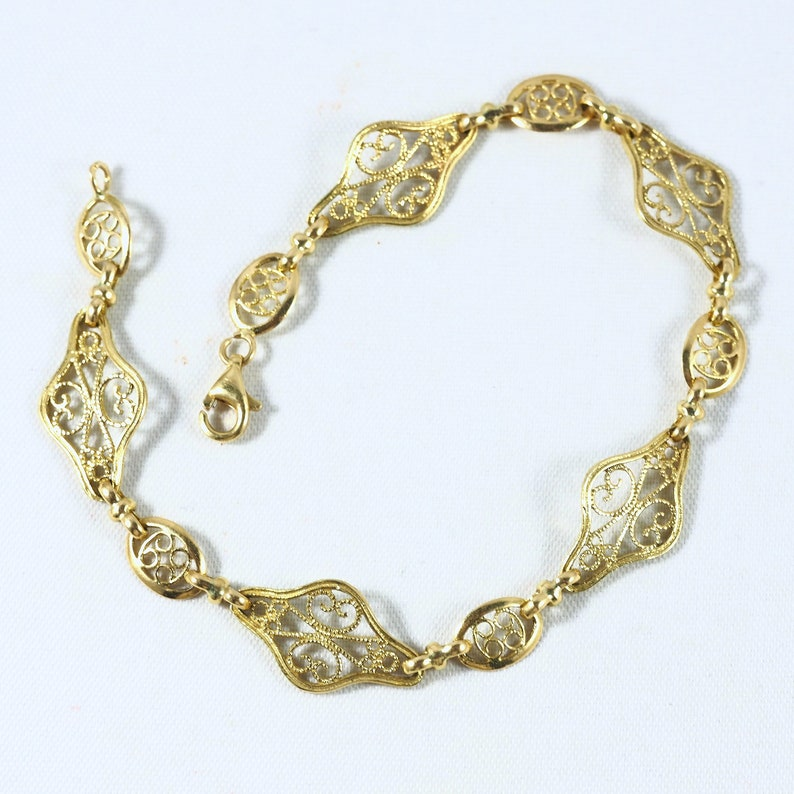 Vintage 18K solid gold Art Nouveau style bracelet Filigree image 0