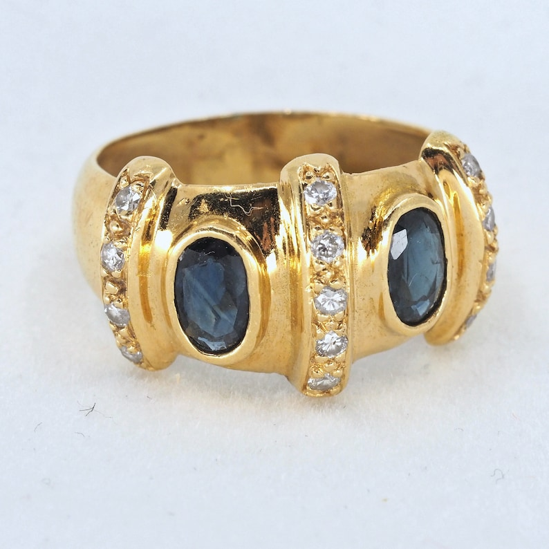 18K solid gold statement ring with two natural sapphires and image 0