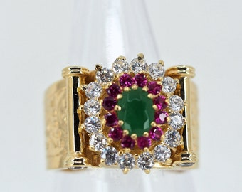Massive 18K solid gold ring Three tier stamped statement colorful fancy ring Retro fashion style Hallmarked