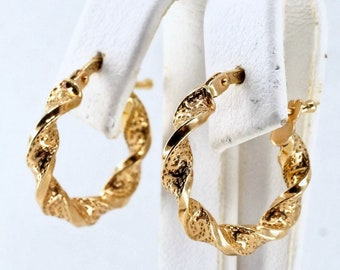 Charming solid gold earrings Stamped fine gold hoop earrings  Bright solid yellow gold creoles