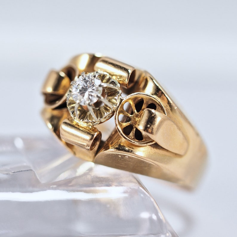 Stunning Retro ring Stamped 18K solid gold Old European cut image 0