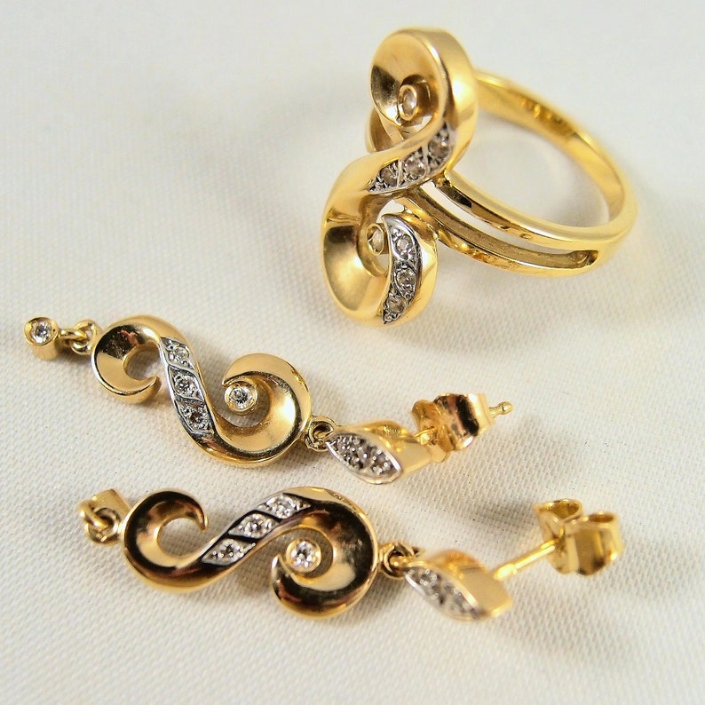 Mid Century stamped 18K solid gold jewelry set enhanced with image 0