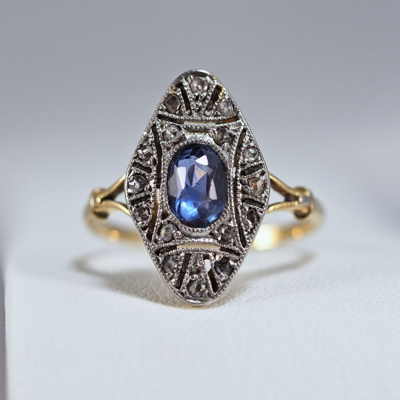 Rare Genuine Art Nouveau ring 18K solid gold and platinum image 0