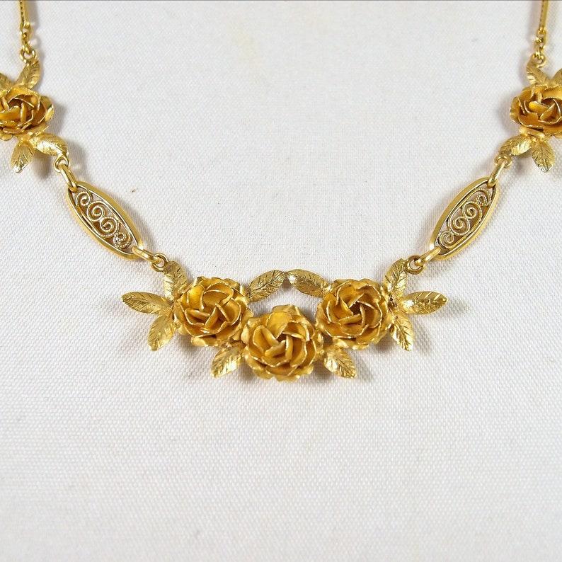 Exquisite 18K solid gold genuine antique necklace Stamped image 0