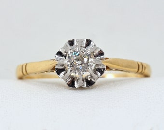 Quality solitaire ring in platinum and 18K solid gold Stamped fine bridal jewelry Wedding day, Engagement and every day jewelry