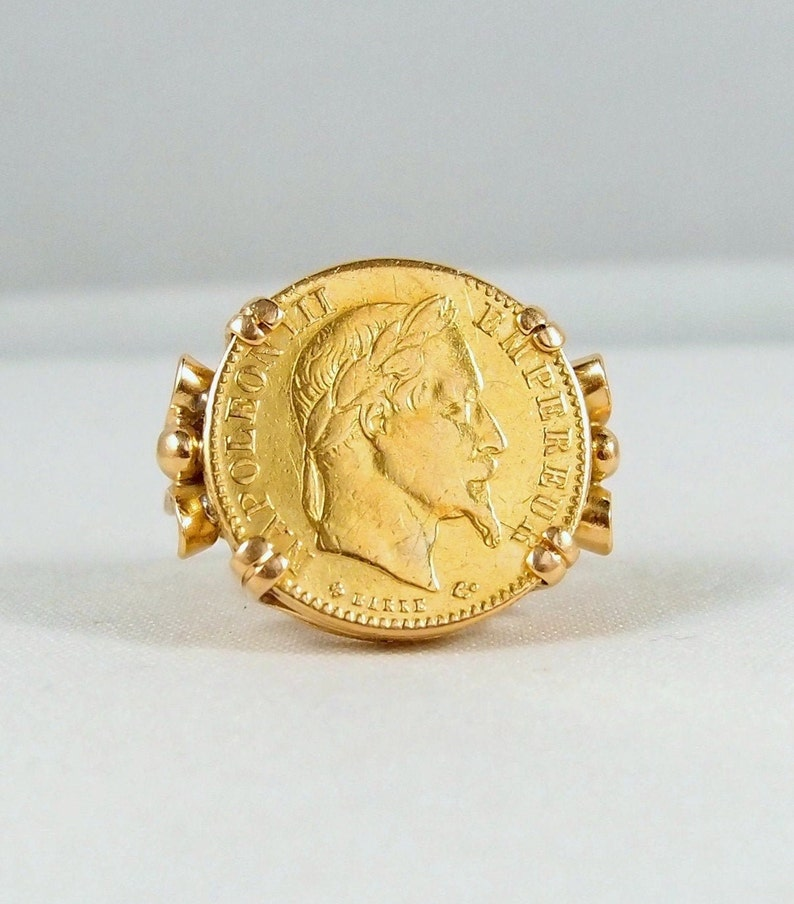 750 Solid Gold Napoléon III ring 750 plus 900 carat French image 0