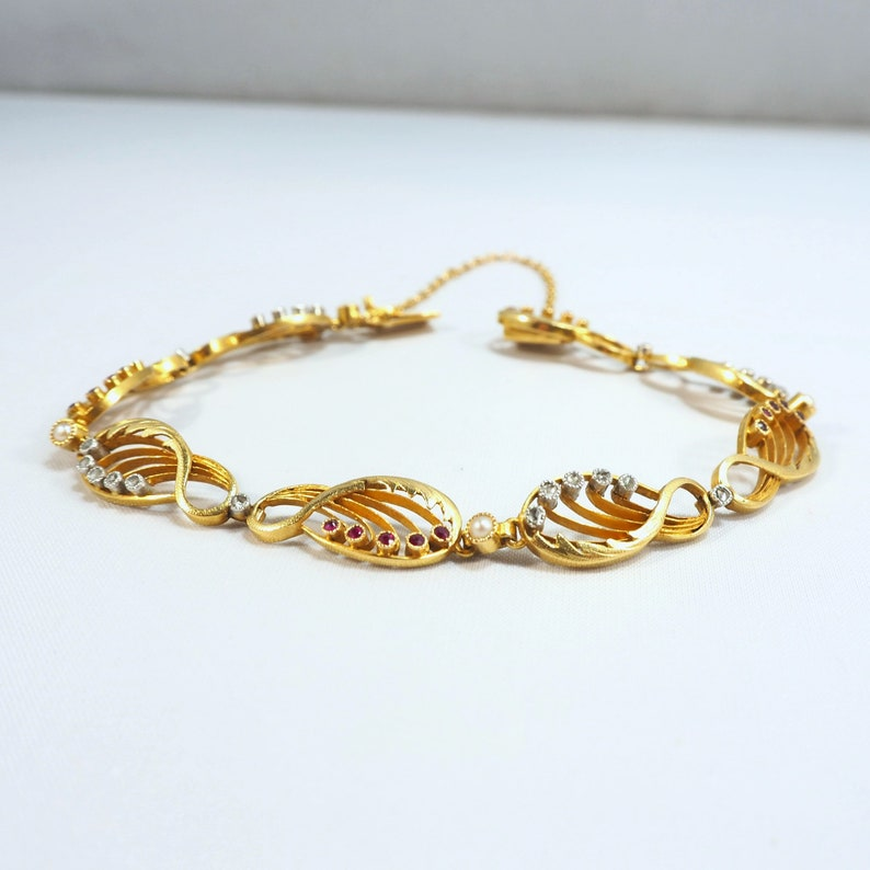 Authentic Art Nouveau bracelet in 18K solid gold with rubies image 0