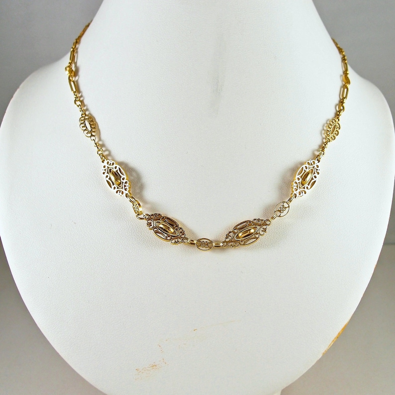 High 18K solid gold necklace Belle Époque fancy chain Stamped image 0