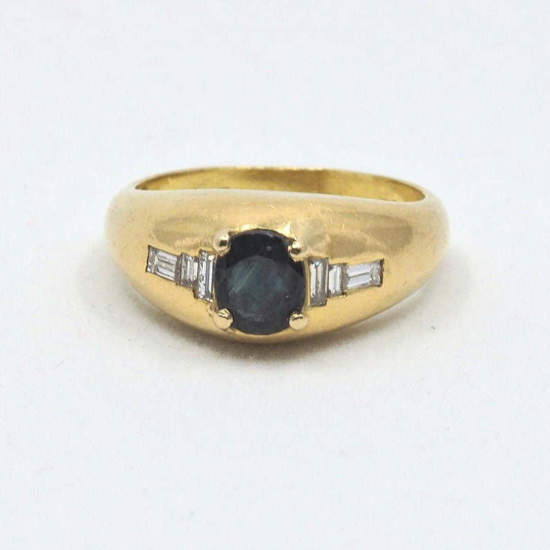 18K solid gold FRED of Paris designer ring with sapphire image 0