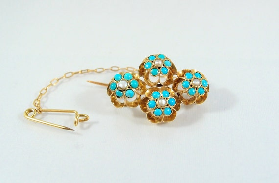 SALE! Rare 1890s turquoise and demi pearls brooch