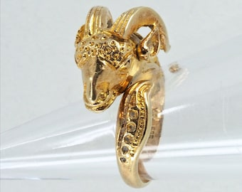 Amazing solid gold ram sheep ring Stamped fine 14K solid gold jewelry Statement Dinner Cocktail ring Vintage animal design