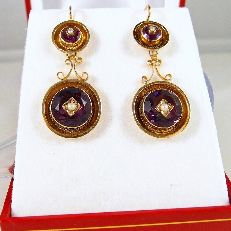 RESERVED Superb dangling earrings Victorian era Napoléon III image 0