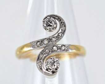 18K solid gold crossover ring with natural diamonds Stamped bypass Toi et Moi Genuine Art Nouveau engagement ring fine gold jewelry