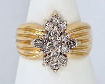Massive solid gold ring with 0.60ct earth mined diamonds 15 fine quality gemstones Fine gold statement ring