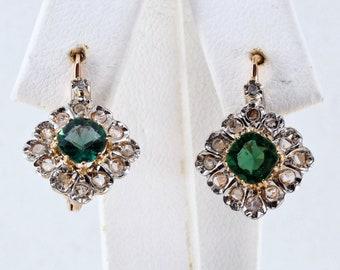 Splendid 18K solid gold drop earrings with green tourmaline and rose cut diamonds Genuine art nouveau/Déco stamped fine earrings