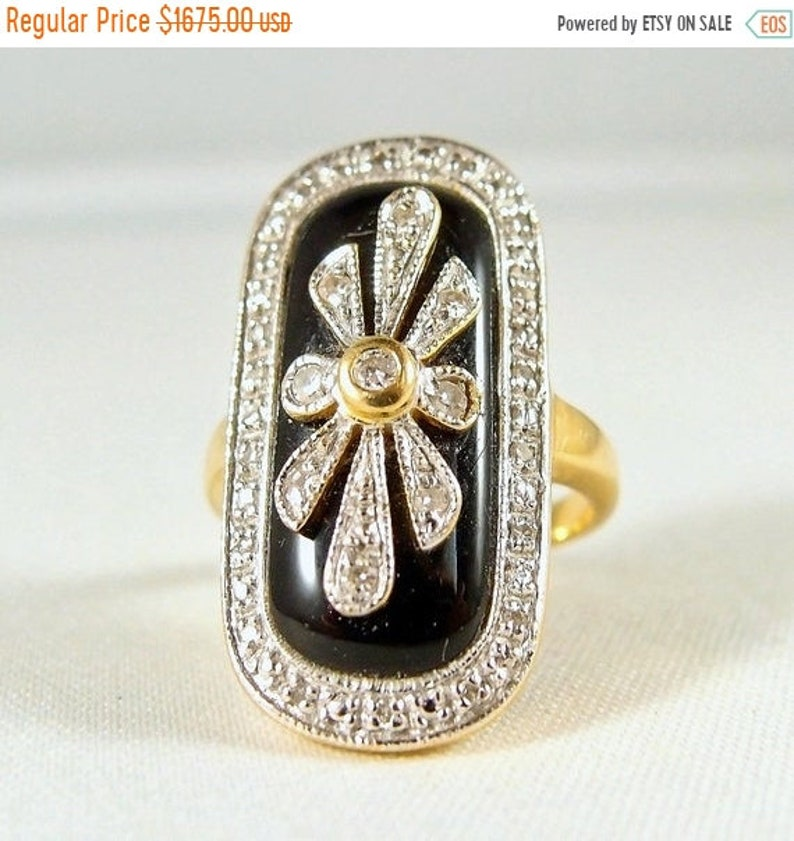 Victorian era 18K solid gold ring with diamond on black onyx image 0