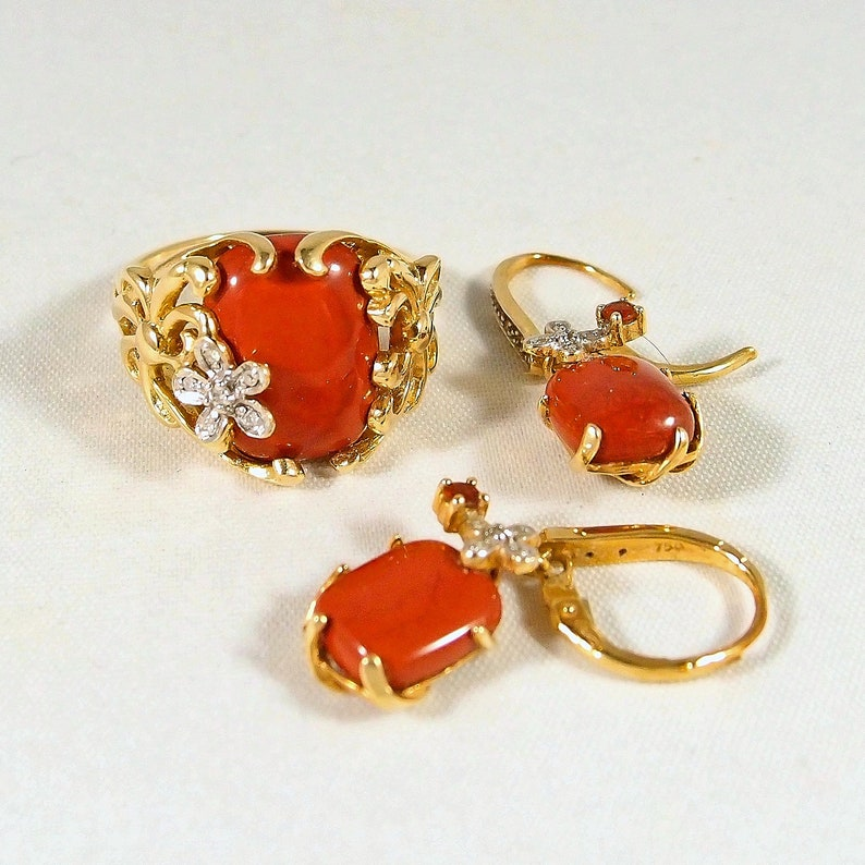 Massive 18K solid gold red jasper ring and earrings set image 0