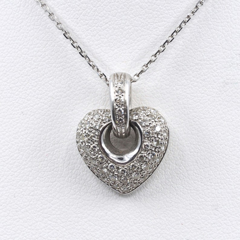 18K solid gold pendant covered with diamonds 750 solid white image 0