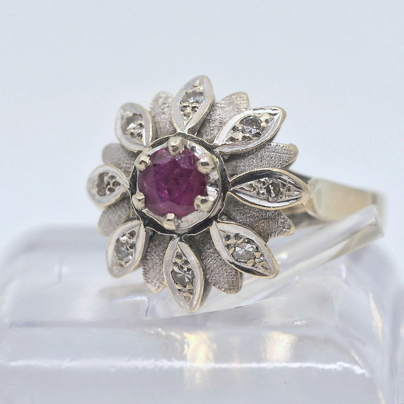 18K solid gold ruby and diamonds ring Stamped fine gold pinky image 0