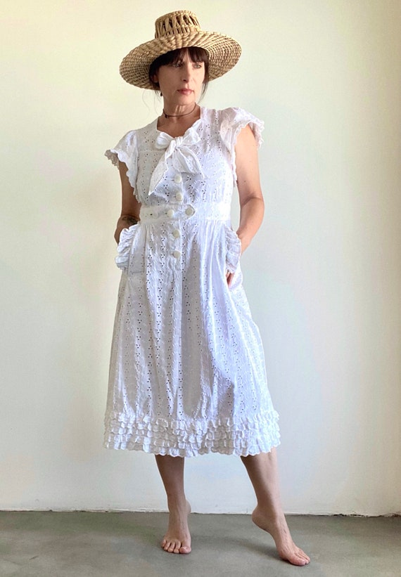 Eyelet White Cotton Broderie Anglaise 60's Summer